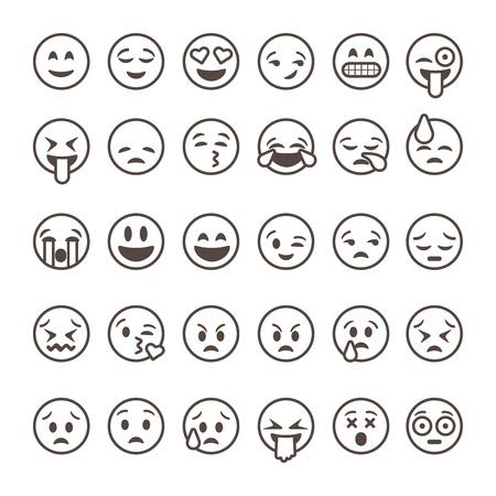 caras tristes: Conjunto de emoticonos de esquema, emoji aislado en el fondo blanco, ilustraci�n vectorial.