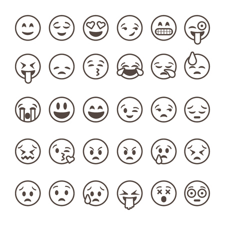 Set of outline emoticons, emoji isolated on white background, vector illustration. Çizim