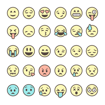 Set of outline emoticons, colorful emoji isolated on white background, vector illustration.