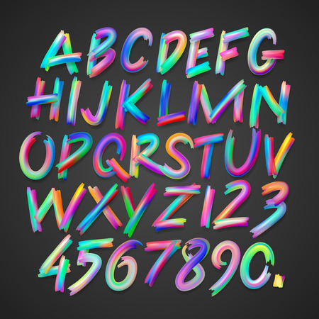 Multicolored art alphabet and numbers, vector illustration. Vettoriali