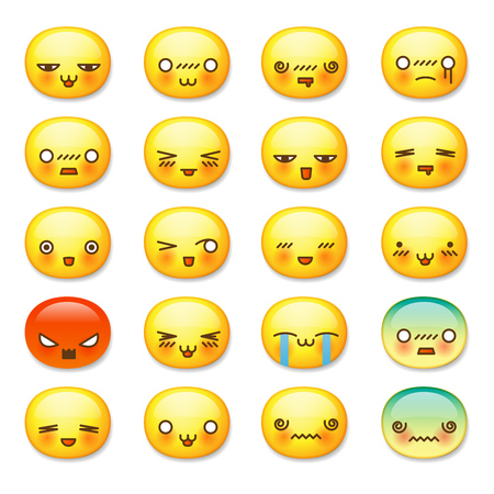 Set of cute smiley emoticons, emoji isolated on white background, vector illustration. Vettoriali