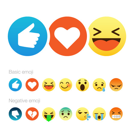 Set of cute smiley emoticons, emoji flat design, vector illustration.  イラスト・ベクター素材