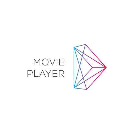 logo music: Movie player, abstract colored play logotype, vector illustration.