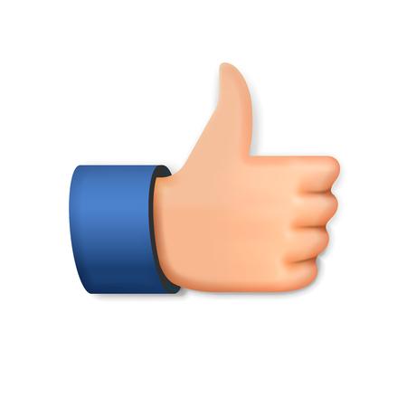 Como icono, emoji pulgar hacia arriba símbolo, ilustración vectorial.