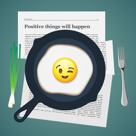 breakfast smiley face: Good morning. Positive breakfast with love, smiling emoji face make with fried egg, vector illustration. Illustration