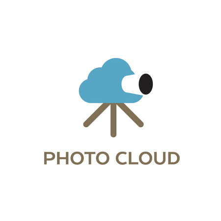 Photo cloud, creative icon for cloud computing concept, vector illustration. Illustration