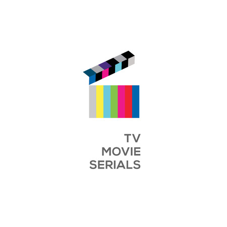 Icon  for online TV, movie, serials, open clapperboard, vector illustration. Illustration