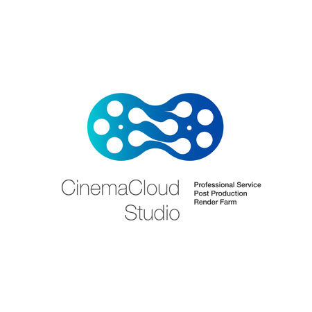 Cinema cloud studio, creative icon for cloud computing concept, vector illustration.