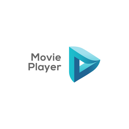 Movie player logo concept, play logotype, vector illustration. Illustration