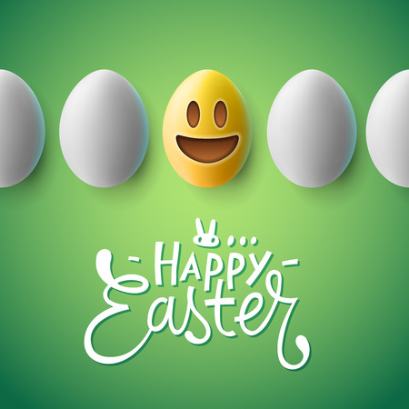 Happy Easter poster, easter eggs with cute smiling emoji face, vector illustration. Illustration
