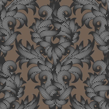 vector pattern: Seamless damask floral pattern, use for wedding invitation or any luxury vintage abstract background, vector illustration.
