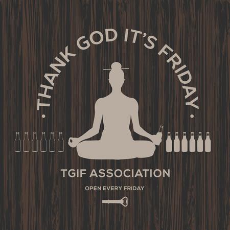 幸せな金曜日、神に感謝それは金曜日、ベクトル図です。