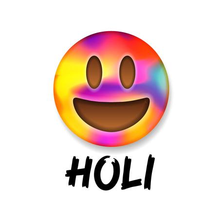 pichkari: Cute colorful smiley emoticon, indian color festival Holi, emoji design, illustration.