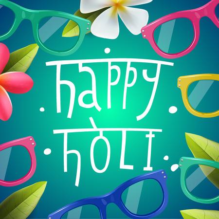Glückliches Holi Plakat des indischen Farbfest, kann die Verwendung Party-Einladung, Vektor-Illustration sein.