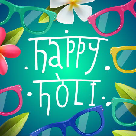 pichkari: Happy Holi poster of indian color festival, can be use party invitation, vector illustration.