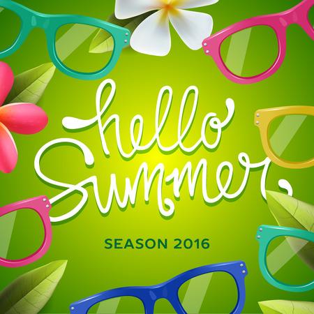 seasonal: Hello summer, seasonal template, green background with sunglasses, illustration.