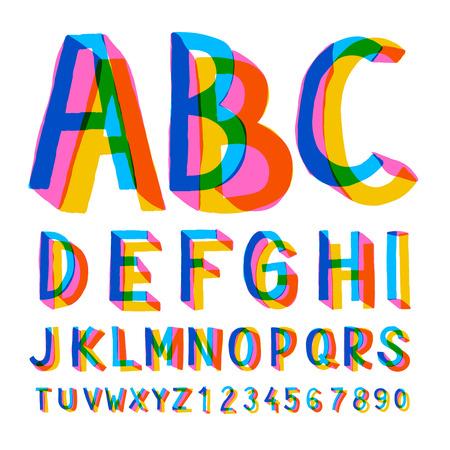 Creatieve kleurrijke alfabet en nummers, illustratie. Stockfoto - 53577544