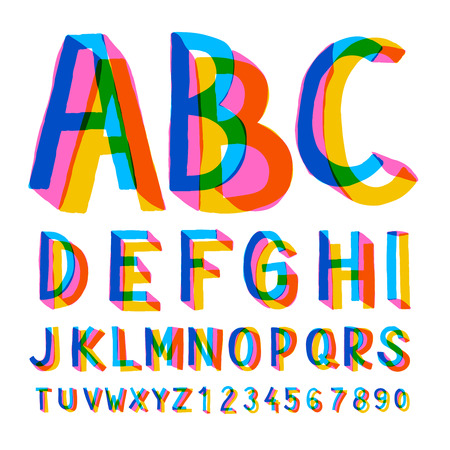 school kids: Creative colorful alphabet and numbers, illustration.