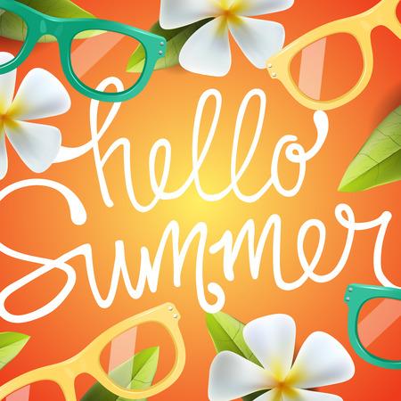 Hallo Sommer Hintergrund mit tropischen Blumen und Sonnenbrillen. Verwenden Sie für den typographischen, Plakat, Partyeinladung, Illustration.