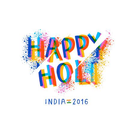 Glückliche Holi Feier, kreativ Schablonenentwurf für indische Fest der Farben, Illustration. Illustration