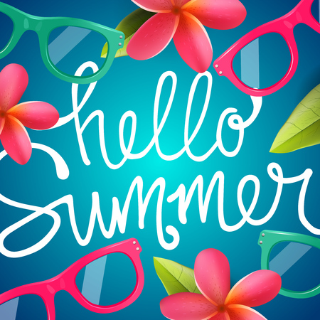 Hello summer, colorful background with Frangipani tropical flowers, vector illustration.