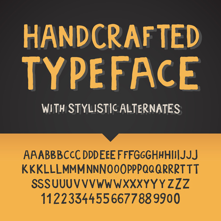 handcrafted: Handcrafted typeface, letters and numbers, vector illustration. Illustration