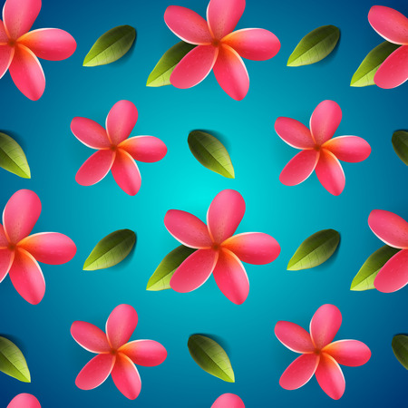 pink plumeria: Frangipani flowers seamless pattern, Songkran Festival in Thailand, Thai New Year, vector illustration.