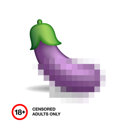 adults sex: Image of eggplant closed by censorship, symbol adult only 18+, vector illustration.