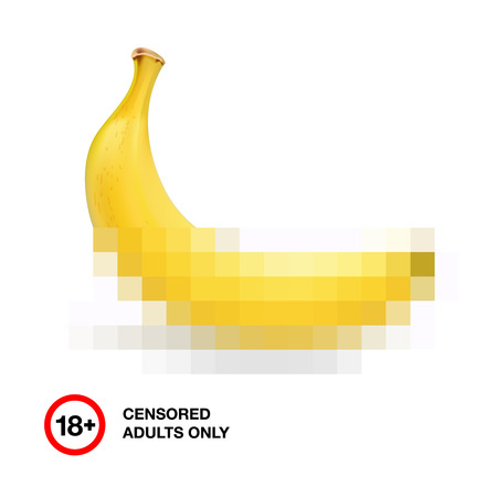 Foto von Bananen durch Zensur, Symbol für Erwachsene geschlossen nur 18, Vektor-Illustration. Illustration