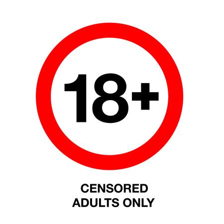 Onder de achttien round teken, alleen voor volwassenen, geïsoleerde achtergrond, vector illustratie.
