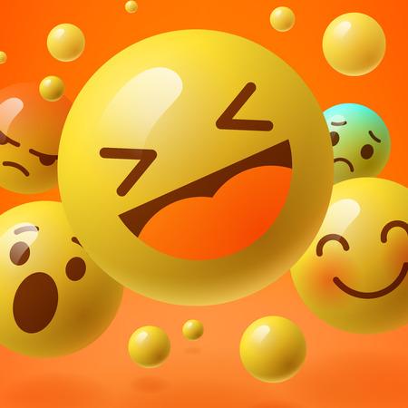 Achtergrond met een groep van smiley emoticons, emoticons, sociale media communicatie concept, vector illustratie. Vector Illustratie