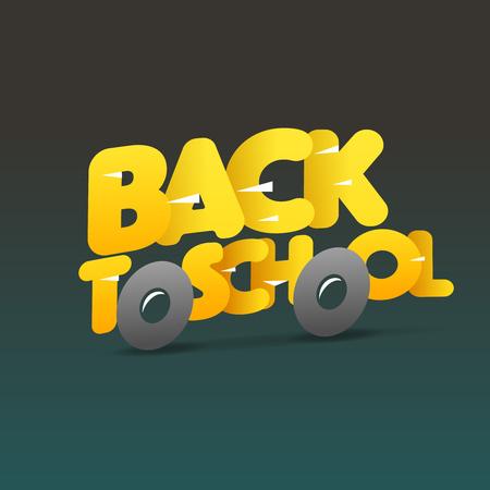 Volver al logo de la escuela, autobús escolar hacen de las cartas, ilustración vectorial. Logos