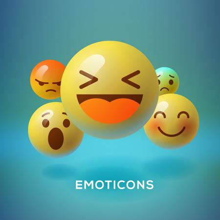 笑顔の顔文字、絵文字、ソーシャル メディア概念ベクトル イラストです。