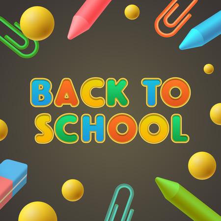Back to school-Vorlage, Kindergarten spielen und lernen, Vektor-Illustration.