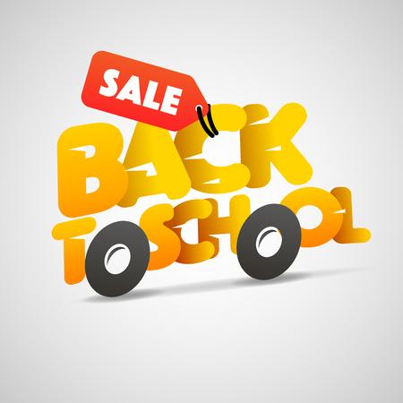 Volver a la venta logo de la escuela, autobús escolar hacen de las cartas, ilustración vectorial.