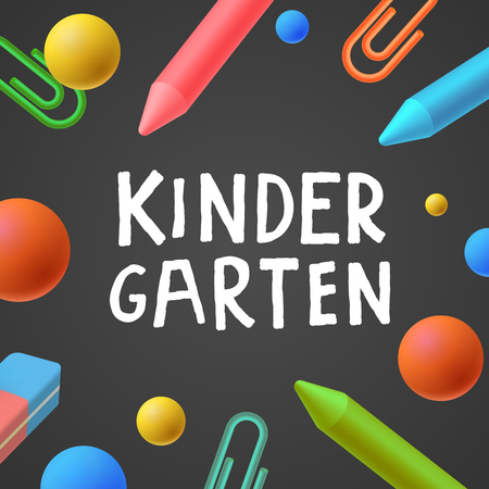 yearbook: Kindergarten, preschool background, art and craft, play and learn, vector illustration. Illustration