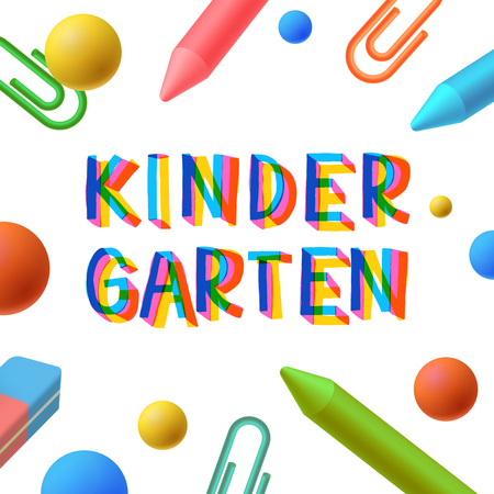 Kindergarten, Vorschule Vorlage, Lernen und Studium Konzept, spielen und lernen, Vektor-Illustration.