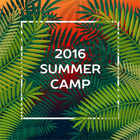 Summer camp à thème et l'affiche de vacances d'été, illustration vectorielle. Vecteurs