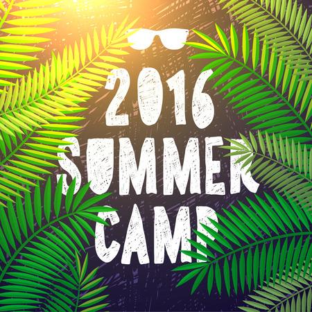 Camp d'été 2016, camp à thème et l'affiche de vacances, illustration vectorielle.