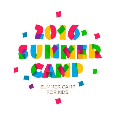 Themed Summer Camp 2016 Poster in flachen Stil, Vektor-Illustration. Illustration