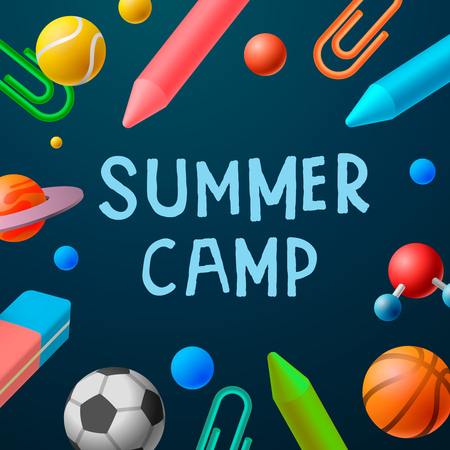 Themed Summer Camp 2016 Plakat, Sportspiele, Kunstkurse, Vektor-Illustration. Illustration