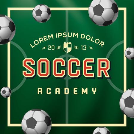 soccer field: Soccer academy, football soccer ball on the field, vector illustration. Illustration