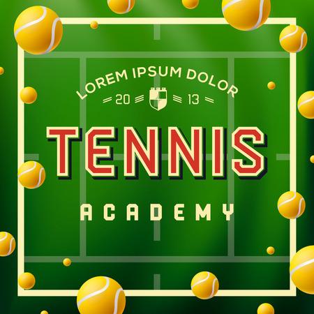 Tennis-Akademie Design über grünem Hintergrund, Vektor-Illustration.