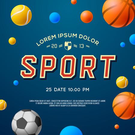 Sport-Konzept Hintergrund, Fußball, Fußball, Tennis, Basketball, Vektor-Illustration. Illustration