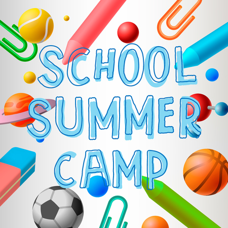 Schule Sommerlager, Themen-Plakat, Vektor-Illustration. Illustration