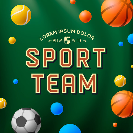 high school: Sport team template, poster, flyer, logo, vector illustration.