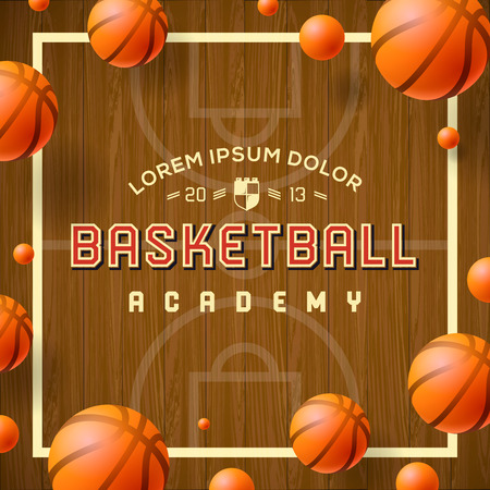 Basketball academy flyer or poster use for basketball announcements, games, leagues, camps, and more, vector illustration.