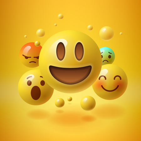 Concept voor de gemeenschap mensen teamwork, gele achtergrond met groep van smiley emoticons, emoticons, vector illustratie.