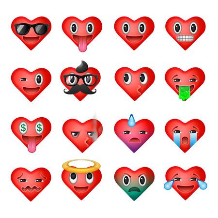 Set von Herzen Emoticons, emoji Smiley-Gesichter, Vektor-Illustration.