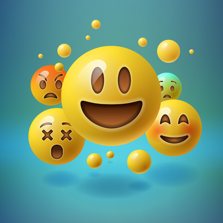 lol: Smiley emoticons, emoji, social media concept, vector illustration.